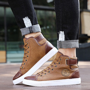 Wholesale Spring Autumn Men Casual Shoes Ankle Length Men PU Leather Shoes Loafers Lace Up High Pipe Flat Plus Size