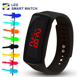 Wholesale New Fashion LED Watches Sport Digital Display Bracelet Wrist Watch Silicone Touch Screen candy band for men women Children s Students