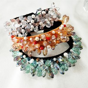 Wholesale Luxury Sparkly Crystal Fashional Modern Style Crown Hairbands For Girls Headwear Hair Accessories For Women J