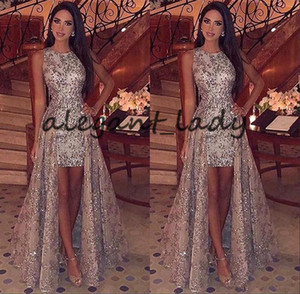 Wholesale Middle East Modest Silver Appliques Evening Dresses Sleeveless Jewel Neck Short Prom Party Gown with Floor Length Train Yousef Aljasmi