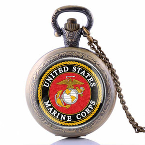Wholesale IBEINA Veterans Day Army USMC United States Marine Corps Pocket Watch Bronze Black Silver Color Available Dropship