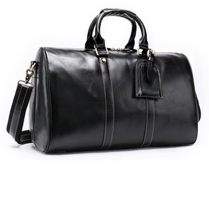 Good Quality Genuine Leather Duffel Bag Famous Brand Vintage Designer Weekend Travel Bags Carry On Luggage Bag (Black Coffee) on Sale