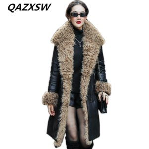 Wholesale 2018 New Women s Winter Genuine Leather Coat Leather Down Jacket Long Paragraph Lamb Fur Collar Sheep Fashion Warm Outer LE518