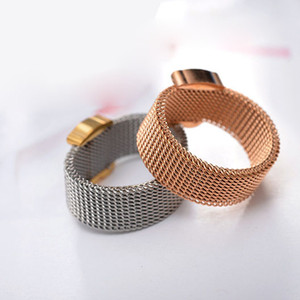 Wholesale New fashion mesh wide band finger ring stainless gold silver rose gold women rings Anillo