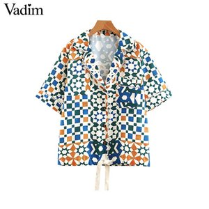 Wholesale Vadim women geometric print short sleeve blouse turn down collar single breasted bow tie design female casual wear tops DA342