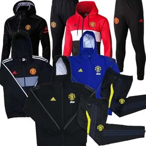 Wholesale 19 new Man United Jacket Hoodie set Sweatshirt FC manchester UtD MAGUIRE soccer tracksuit Pogba long sleeve training suit S XXL