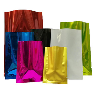 Wholesale Coffee Tea Cosmetic Sample Colored Heat Seal Aluminum foil bag Mylar Foil bag Smell Proof Pouch open Top Packaging Bags