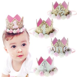 Wholesale Baby Girl First Birthday Decor Flower Party Cap Crown Headband Year Number Priness Style Birthday Hat Baby Hair Accessory