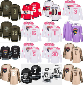 2019 All Star Custom Florida Panthers 3 Keith Yandle Custom Any Name # 1 Luongo Pink Black White Hockey Jersey Men Women Youth Size XS-6XL on Sale