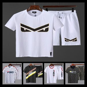 Wholesale 18ss Tee Shorts Colorful Mosaic Track Sports Set Luxury Stitching Unisex Casual Summer Tops Pants Fitness T shirt Shorts
