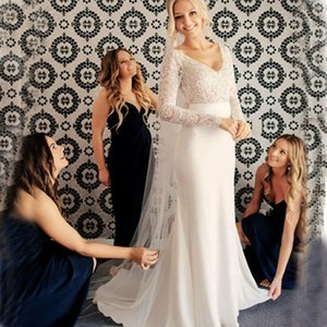 Wholesale Simple Mermaid Wedding Dress Long Sleeves Lace Top Appliques V Neck Bride Dress Backless Custom Made Princess Wedding Gown robe de mariee
