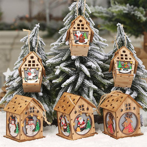 Wholesale Christmas Hanging Ornament Wooden Crafts Cute Wooden House LED Light Up Christmas Tree Ornament Home DIY Accessories