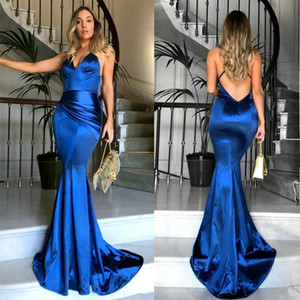 Backless Silk Satin Sexy Criss Cross Spaghetti Straps Royal Blue Women Mermaid Evening Dress Pleats Guest Formal Party Prom Gowns Best Sale on Sale