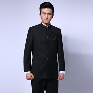 Wholesale Black Chinese Tunic Suit Men s Traditional Stand Collar Suits Apec Leader Costume Male Embroidery Dragon Totem Suit Blazer