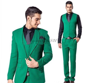 Wholesale Three Pieces Men Suits Notched Lapel One Button Prom Suit Formal Business Suits Wedding Tuxedos Costume Mariage Coat Pant