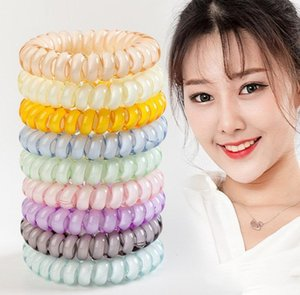 Wholesale Jelly ring telephone Line Elastic Hair Bands Hair Spring Rubber Hair rope ties hair ring wear access Diameter Women Pony Tails Holder