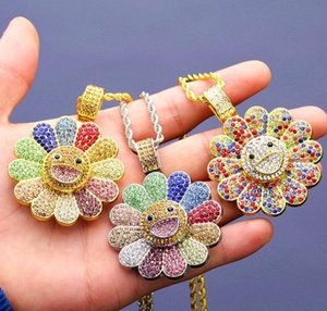 Wholesale Gold Rotatable Sunflower Pendant Necklace Mens Hip Hop Necklace Jewelry Fashion Womens Iced Out Pendant Necklace