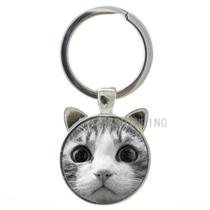 TAFREE 2019 newest design cute cat ear keychain women bag purse pendant jewelry key ring fashion accessories cat key chain holder CN291
