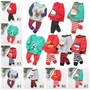 Wholesale 7 Style Boys Girls Christmas Pajamas Children New Year Santa Claus Elk Long Sleeve Tops Stripe Pants Sets EEA876