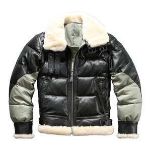 Wholesale Ab3 Read Description Asian size super warm mens genuine goat leather down jacket very warm sheep skin winter leather jacket