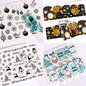 Wholesale black tree decals for sale - Group buy 1pcs sheet Nail Water Decals Christmas Sliders Stickers Gold Black Santa Claus Snowman Stars Deer Trees Adhesive Manicure BESTZ797