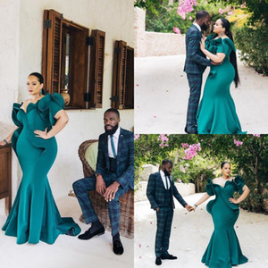 Hunter Green African Mermaid Evening Dresses Plus Size Short Sleeve Ruffles Prom Dresses Floor Length Cheap Formal Evening Bridesmaid Gowns on Sale