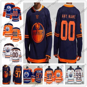 Wholesale Customized Edmonton Oilers 2019 NEW Navy Blue Third Jersey Custom Any Number Name men women youth kid White Orange McDavid Gretzky Neal 4XL