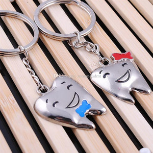Metal Couple Tooth shape Keychain Lovers Smiling Face Keyring Valentine's Day Gift Wedding Favors Keychains with card + DHL free shippi