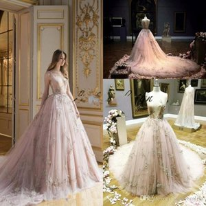 Beautiful Paolo Sebastian Pageant Dresses Evening Wear A Line Plunging Neckline Appliques Tulle Blush Champagne Prom Gowns Party Dress on Sale