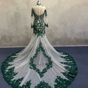 Wholesale 2019 Illusion Luxury Evening Dresses Long Sleeves lace Sequined Mermaid Evening Dresses Formal Party Prom Gowns High Neck With court train