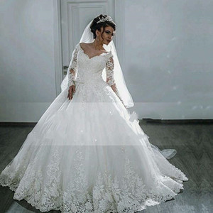 2020 New Puffy Lace Beaded Applique White Long Sleeve Arab Wedding Gowns robe Gorgeous Sheer Ball Gown Wedding Dresses
