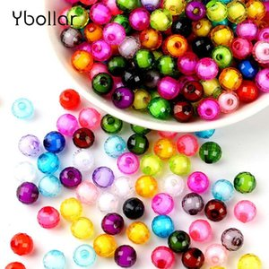 Wholesale 100pcs pack mm Earth Faceted Acrylic Loose Spacer Round Beads For Bracelet Necklace Jewelry Making DIY Craft
