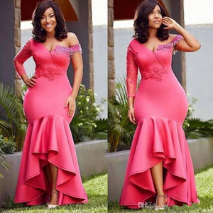 Wholesale Plus Size High Low African Mermaid Evening Wear Dresses 2019 with Applique Asymmetrical One Shoulder Prom Formal Party Dress
