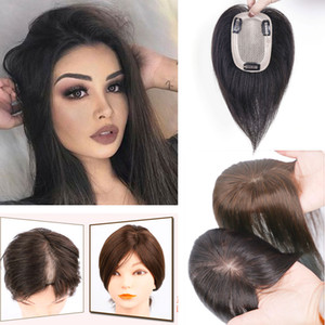 Wholesale hair topper resale online - 100 Human Hair Silk Base Top Hairpiece for Women Clip in Crown Topper Hand made Toupee Middle Part Thinning Hair Grey Hair