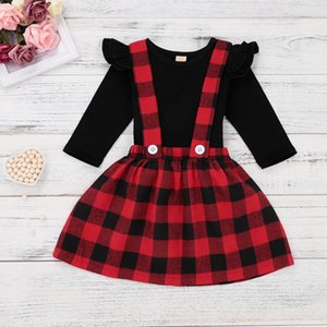 faldas en general al por mayor-Ropa de Baby Girls Ropa Ruffles de manga larga camiseta Tops Baldas Marcaradas Faldas Set Princess Party Outfits para T M508