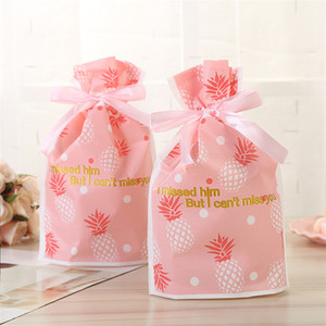 Wholesale 250 X Pink Pineapple Pattern Drawstring Candy Bags Plastic Gift Bags For Candy Buffet Drawstring Party Bags Wrapping Decorations
