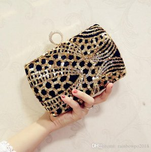 Factory wholesale brand new bag elegant woman sequined Evening Bag Handmade luxury sequined dress hand bags fashion diamond chain bag
