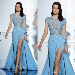 Wholesale elie saab short dresses for sale - Group buy 2019 Elie Saab Sky Blue Formal Celebrity Evening Dresses Short Sleeves Beaded Lace Thigh High Split Cheap Prom Special Occasion Gowns