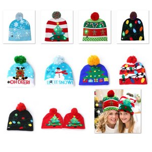 Wholesale Led Snowman Knitted Beanies Cap For Snowflake Christmas Tree Women Children Warm Hair Ball Light Up Hip Hop Hats WX9