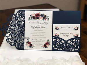 Gorgeous Navy Lace Tri-Fold Laser Cut Wedding Invitations Pocket Wedding invitation Die Cut Laser Cut Shimmer Jacket With RSVP Card