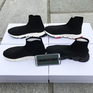 Wholesale With Box New Speed Runner Fashion Shoes Sock Top Quality Triple Black Oreo Red Flat Trainer Men Women Casual Shoes Sport US13