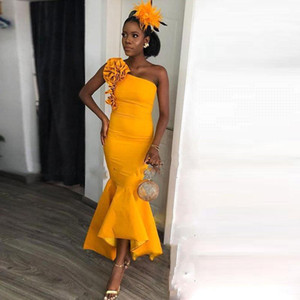 2020 New African One Shoulder Hi Lo Mermaid Prom Dresses Flower Ruffles Ankle Length Eevning Gown Bridesmaid Dress Formal Party Wear BM1667 on Sale