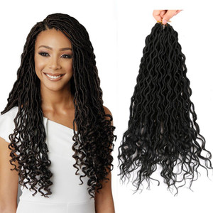 "Mtmei Hair Goddess Faux Locs Crochet Hair With Curly Ends 18"" 24 roots Dreadlocks Hair Extensions Synthetic Crochet Braids hair-extensions"
