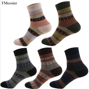 Wholesale 5 Pairs Winter Men Thick Socks Wool Cashmere Warm Thermal Art Crew Socks for Mens Fashion Gift Calcetines Sokken High Quality