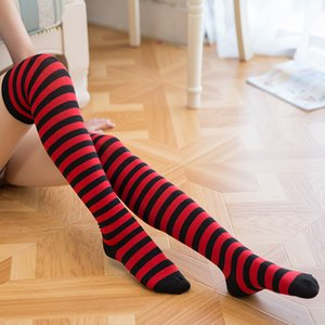 Wholesale Hot Sexy Women Girls Stockings Japanese Red Over the Knee Socks Striped Thigh High Knee Socks Long Stockings Dancing Cosplay