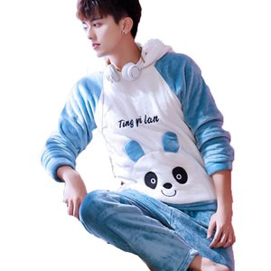 Wholesale Kawaii Cute Cartoon Hooded Pajama Set Men Pyjama Homme Winter Thick Warm Flannel Nightgown Male Sleepwear Sleeping Clothes