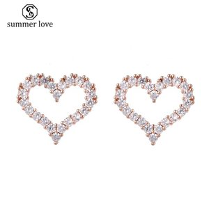 Wholesale platinum girls earrings resale online - Gold Plated Brass Platinum Plating Brass Open Heart Stud Earrings with CZ Jewelry Gifts for Women and Girls