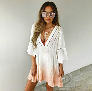 Wholesale Womens Summer Casual Bodycon Evening Party White Mini Dress Chiffon Gradient White Orange V neck Summer Dresses