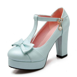 Wholesale Women High Heeled Shoes Women Squared Heels Pumps Platform Bowtie Bowknot Shoes Buckle Party Sexy Footwear