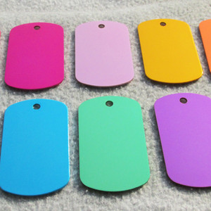 100pcs lot Aluminum Alloy Blank Army Dog Tags, Pet Dog Tags Men Pendants with anodized surface